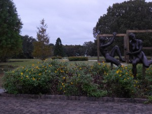 A view across several of the large sculptures and gardens